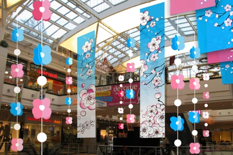 Seasonal shopping center decoration spring msk reklama for Decoration shopping