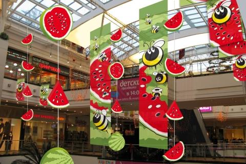 Summer Decoration seasonal decoration of shopping center. summer | msk-reklama