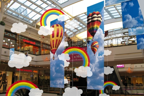 Seasonal decoration of shopping center summer msk reklama for Decoration shopping
